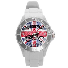 Motorcycle Old School Round Plastic Sport Watch (l)