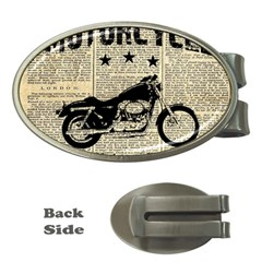 Motorcycle Old School Money Clips (oval)  by Valentinaart