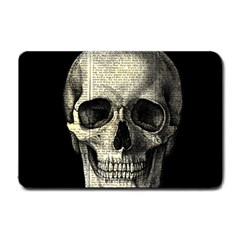 Newspaper Skull Small Doormat  by Valentinaart