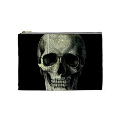 Newspaper Skull Cosmetic Bag (medium)  by Valentinaart