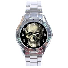 Newspaper Skull Stainless Steel Analogue Watch by Valentinaart