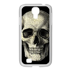 Newspaper Skull Samsung Galaxy S4 I9500/ I9505 Case (white) by Valentinaart
