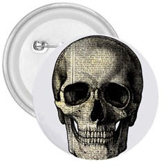 Newspaper Skull 3  Buttons by Valentinaart