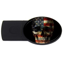 American Flag Skull Usb Flash Drive Oval (2 Gb) by Valentinaart