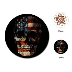 American Flag Skull Playing Cards (round)