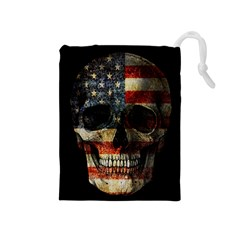 American Flag Skull Drawstring Pouches (medium)