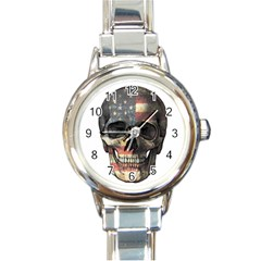 American Flag Skull Round Italian Charm Watch by Valentinaart