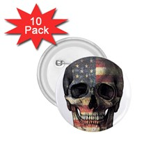 American Flag Skull 1 75  Buttons (10 Pack) by Valentinaart