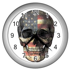 American Flag Skull Wall Clocks (silver)