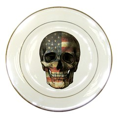 American Flag Skull Porcelain Plates by Valentinaart