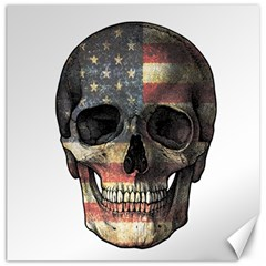 American Flag Skull Canvas 20  X 20   by Valentinaart