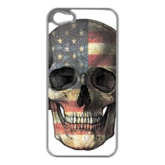American Flag Skull Apple Iphone 5 Case (silver) by Valentinaart