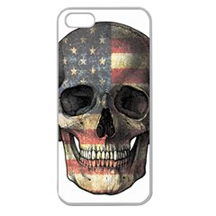 American Flag Skull Apple Seamless Iphone 5 Case (clear) by Valentinaart