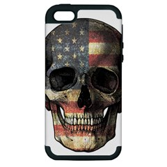 American Flag Skull Apple Iphone 5 Hardshell Case (pc+silicone)