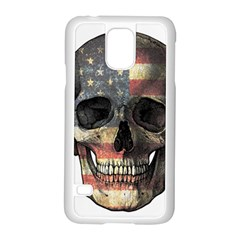 American Flag Skull Samsung Galaxy S5 Case (white) by Valentinaart