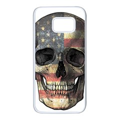 American Flag Skull Samsung Galaxy S7 White Seamless Case by Valentinaart