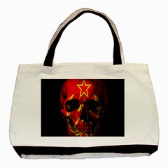 Russian Flag Skull Basic Tote Bag by Valentinaart