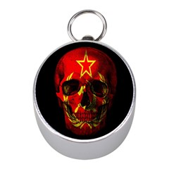 Russian Flag Skull Mini Silver Compasses by Valentinaart
