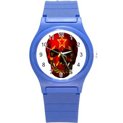 Russian Flag Skull Round Plastic Sport Watch (s) by Valentinaart