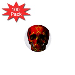 Russian Flag Skull 1  Mini Buttons (100 Pack)  by Valentinaart