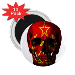 Russian Flag Skull 2 25  Magnets (10 Pack)  by Valentinaart