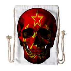 Russian Flag Skull Drawstring Bag (large) by Valentinaart