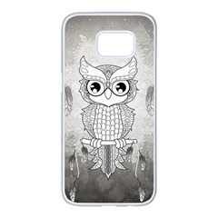 Wonderful Owl, Mandala Design Samsung Galaxy S7 Edge White Seamless Case by FantasyWorld7