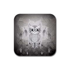 Wonderful Owl, Mandala Design Rubber Square Coaster (4 Pack)  by FantasyWorld7
