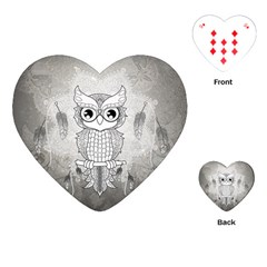 Wonderful Owl, Mandala Design Playing Cards (heart)  by FantasyWorld7