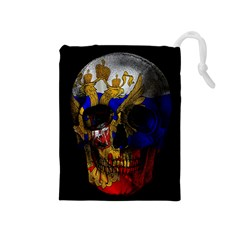 Russian Flag Skull Drawstring Pouches (medium)
