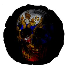 Russian Flag Skull Large 18  Premium Flano Round Cushions