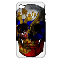Russian Flag Skull Apple Iphone 4/4s Hardshell Case (pc+silicone)