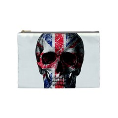Uk Flag Skull Cosmetic Bag (medium)  by Valentinaart