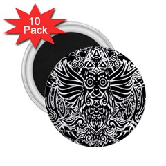 Tattoo Tribal Owl 2 25  Magnets (10 Pack)  by Valentinaart