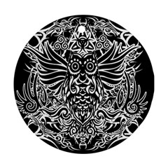 Tattoo Tribal Owl Round Ornament (two Sides) by Valentinaart