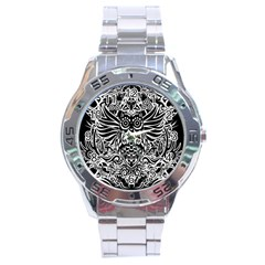 Tattoo Tribal Owl Stainless Steel Analogue Watch by Valentinaart