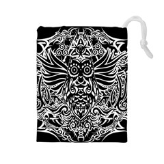 Tattoo Tribal Owl Drawstring Pouches (large)