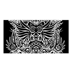 Tattoo Tribal Owl Satin Shawl by Valentinaart