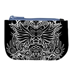 Tattoo Tribal Owl Large Coin Purse by Valentinaart