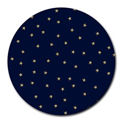 Navy/gold Stars Round Mousepads by Colorfulart23