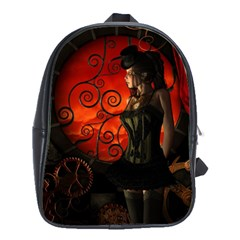 Steampunk, Wonderful Steampunk Lady In The Night School Bags(large)  by FantasyWorld7
