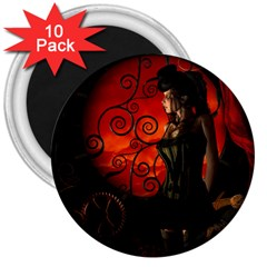 Steampunk, Wonderful Steampunk Lady In The Night 3  Magnets (10 Pack)  by FantasyWorld7