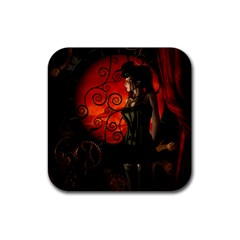 Steampunk, Wonderful Steampunk Lady In The Night Rubber Coaster (square)  by FantasyWorld7