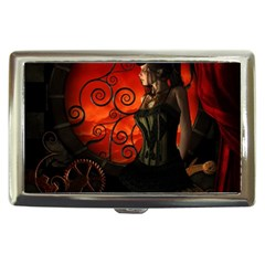 Steampunk, Wonderful Steampunk Lady In The Night Cigarette Money Cases
