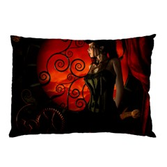 Steampunk, Wonderful Steampunk Lady In The Night Pillow Case by FantasyWorld7