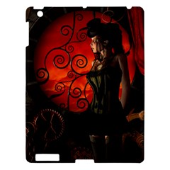 Steampunk, Wonderful Steampunk Lady In The Night Apple Ipad 3/4 Hardshell Case by FantasyWorld7