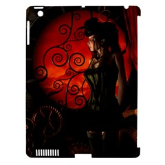 Steampunk, Wonderful Steampunk Lady In The Night Apple Ipad 3/4 Hardshell Case (compatible With Smart Cover) by FantasyWorld7