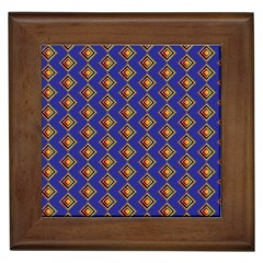 Blue Geometric Losangle Pattern Framed Tiles by paulaoliveiradesign