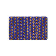 Blue Geometric Losangle Pattern Magnet (name Card)