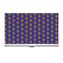 Blue Geometric Losangle Pattern Business Card Holders by paulaoliveiradesign
